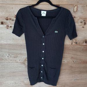 Lacoste Black Short Sleeve Cardigan Size 40 Medium